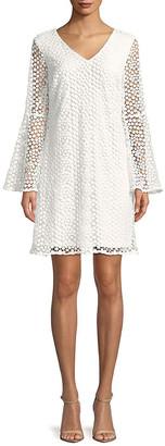 Karl Lagerfeld Paris Bell-Sleeve Lace Shift Dress