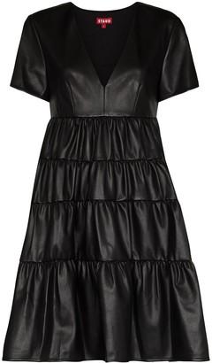 STAUD Cocoon faux-leather mini dress