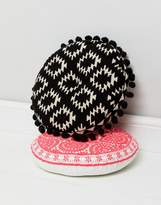 bombay duck Black Embroidered Pom Pom Cushion