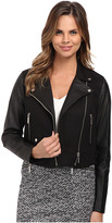 MICHAEL Michael Kors Cotton Leather Crop Moto Jacket
