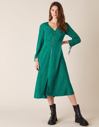 Monsoon Printed Midi Dress in Sustainable Viscose Green