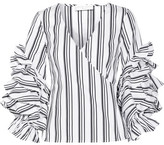 Caroline Constas Athena Ruffled Striped Stretch Cotton-blend Top - White