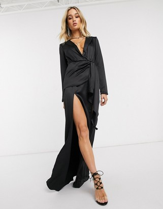 I SAW IT FIRST plunge blazer dress in black