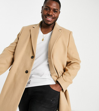 Burton Menswear Big & Tall overcoat in camel
