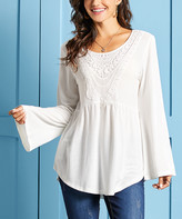 Suzanne Betro Weekend Women's Tunics 108 - Ivory Lace-Trim Babydoll Tunic - Women & Plus
