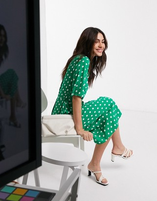 Closet London midi shirt dress in green polka dot print