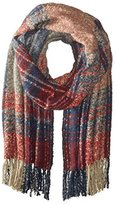 La Fiorentina Women's Oversized Plaid Scarf with Fringe