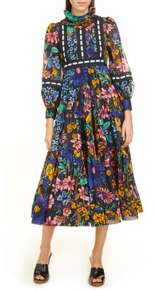 Marc Jacobs Lace Inset Floral Tiered Midi Prairie Dress