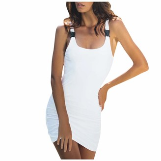 DEELIN Womens Sexy Camisole Bodycon Slim Sleeveless Casual Mini Dress Fashion Casual Solid Straight Sexy DressWhite S