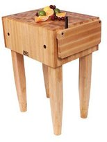 John Boos PCA2 Maple Wood End Grain Solid Butcher Block with Side Knife Slot, 24 Inches x 18 Inches x 10 Inch Top, 34 Inches Tall, Natural Maple Legs