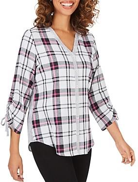 Foxcroft Marlin Double-Faced Mixed Media Plaid Cotton Shirt