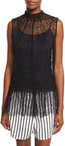 McQ by Alexander McQueen Sleeveless Lace Ruffle Blouse, Black