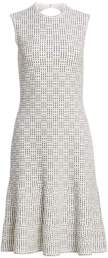 St. John Graphic Ottoman Knit Fit-&-Flare Dress