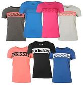adidas Womens Linear T Shirt Ladies Short Sleeve Crew Neck Tee Top