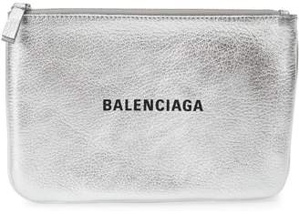 Balenciaga Large Everyday Metallic Leather Pouch