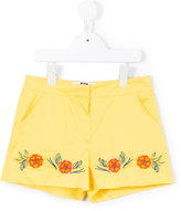 MSGM floral embroidery shorts - kids - Cotton - 12 yrs