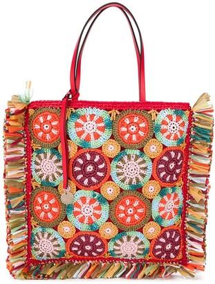 RED Valentino RED(V) crochet tote bag