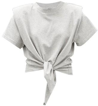 Isabel Marant Belita Padded-shoulder Knotted Cotton T-shirt - Grey