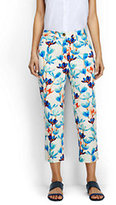 Classic Women's Mid Rise Chino Crop Pants-Light Aquamarine Floral