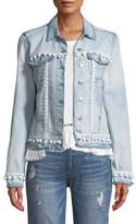 Generation Love Casey Button-Front Denim Jacket w/ Pompom Trim