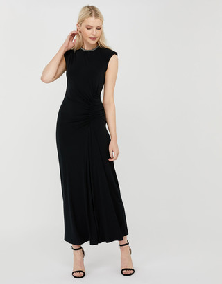 Monsoon Melissa Beaded Neckline Ruched Maxi Dress Black