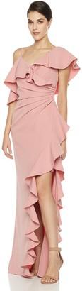 Social Graces Women's Asymmetric Faux Wrap Open Waterfall Ruffle Stretch Crepe Maxi Dress Evening Gown 8 Terra Cotta Pink