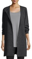 Eileen Fisher 3/4-Sleeve Shale Jacquard Jacket, Charcoal