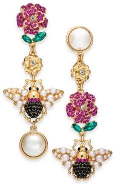 Thalia Sodi Gold-Tone Imitation Pearl & Crystal Bee & Flower Mismatch Drop Earrings, Created for Macy's