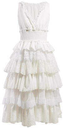 Dolce & Gabbana Lace-trimmed Tiered Dress - Womens - White