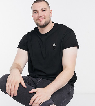 New Look Plus sketch rose embroidered t-shirt in black