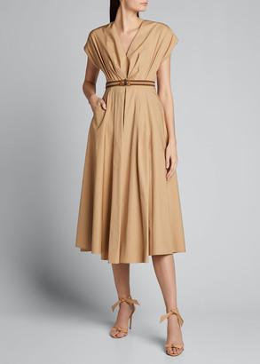 Prada Belted Poplin Midi A-Line Dress