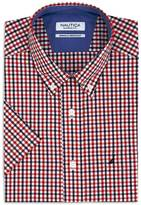 Nautica Classic Fit Wrinkle Resistant Marine Plaid Short Sleeve Shirt
