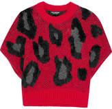 Junya Watanabe Leopard-intarsia Wool-blend Sweater - Crimson