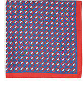 Kiton MEN'S GEOMETRIC-PRINT SILK POCKET SQUARE