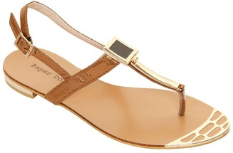 Paper Dolls Footwear Bronze & Gold Metal Square T Bar Sandal