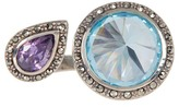 Judith Jack Faceted Halo Set Crystal Open Ring - Size 5