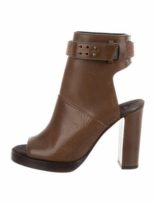 Brunello Cucinelli Leather Peep-Toe Booties Brown