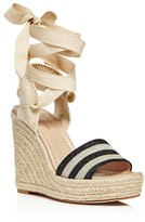 Kate Spade Delano Glitter Stripe Lace Up Espadrille Platform Sandals