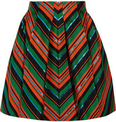 DELPOZO Pleated Metallic Jacquard Mini Skirt - Green