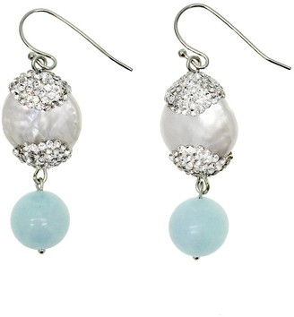 Rhinestones Bordered Pearls & Aquamarine Drop Earrings