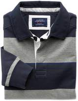 Charles Tyrwhitt Navy, Grey and Blue Stripe Long Sleeve Cotton Rugby Shirt Size XS