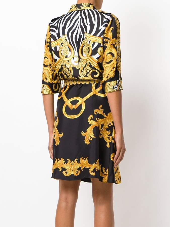 Versace Signature print wrap dress