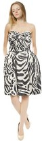 Escada Striking Zebra Print Ruched Silk Bow Cocktail Eve Dress.