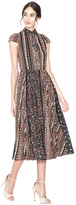 Alice + Olivia Bale Lace Insert Collared Pleated Dress
