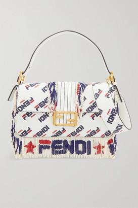 Fendi Baguette Bead-embellished Printed Leather Shoulder Bag - White