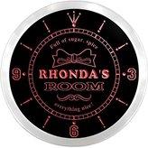 AdvPro Clock ncpe0137-r Rhonda's Girl Princess Kids Room Night Light Neon Sign LED Wall Clock