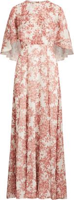 Ralph Lauren Floral Georgette Cape Gown