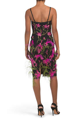 Feather Embroidered Corseted Cocktail Dress
