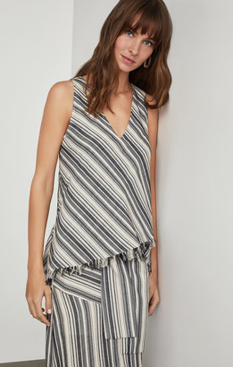 BCBGMAXAZRIA Striped Fringe-Trimmed Top