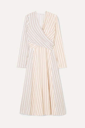 Victoria Beckham Wrap-effect Striped Crepe Midi Dress - Ivory